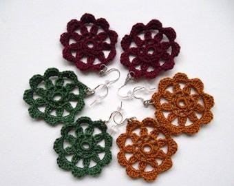 Crochet Earrings, Flower Garden Lace Jewelry, Bohemian Earrings, Hippie Earrings, Cotton Thread Doily Earrings, Boho Chic Knit Earrings