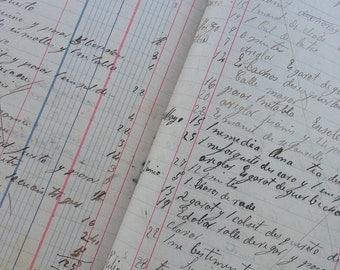20 Antique used ledger paper - Vintage office supplies