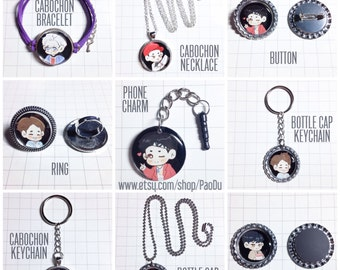 SHINee Necklace / Bracelet / Ring / Keychain / Magnet / Button / Phone Charm [PaoDu x CrowCobain Collaboration]
