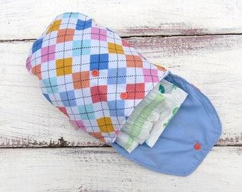 SALE 25% OFF Argyle Diaper Clutch Pink Baby Wipes Case Small Diaper Bag Diaper Organiser