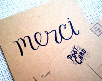 Set of 10 Merci Kraft Thank You Postcards - Great for Weddings, All Occasions - Hand Lettered Kraft French Merci Thank You Note Postcards