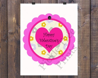 2 Inch, Pink Scallop Valentine Tags with multi colored flowers - Instant Download