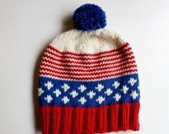 Patriotic Pom Pom hand knitted hat, Hand knitted gift