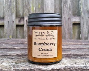 Raspberry Crush, Soy Candle, Natural soy wax, 9oz, jar candle, amber glass