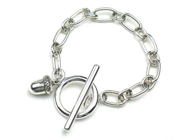 Acorn Bracelet in Silver with Chunky Link Chain and Toggle Clasp / Minimalist Jewelry by elle and belle