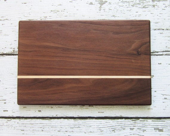 Reclaimed Walnut Cutting Board with Maple Stripe