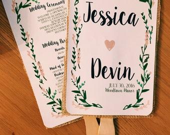 Rustic Floral Wedding Program Fans Handrawn Green Blush Navy Gray-100