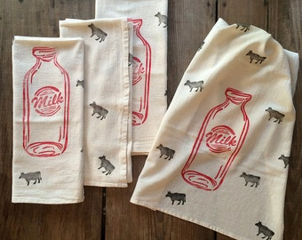 Milk + Cows Flour Sack Towel - Tea Towel - Hand Block Printed - Unbleached 100% Cotton - Black, Red Eco Friendly Ink