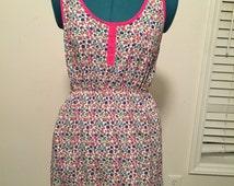 Pink trimmed Flour Sack dress. Floral Print