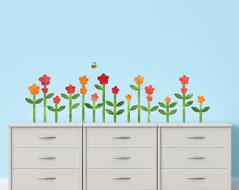 Flower Watercolor Wall Decals - Large Flower Fabric Wall Decals