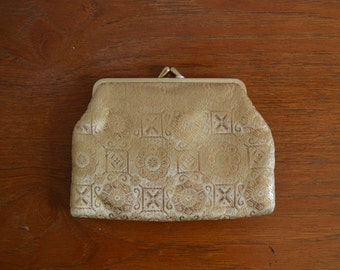 1960s Gold Make Up Bag and Mirror