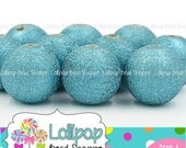 SALE 18mm TURQUOISE STARDUST Beads Sparkly Beads Aqua Acrylic Beads Sparkle Glitter Beads Plastic Wrinkle Beads Bubblegum Beads Bubble Gum B