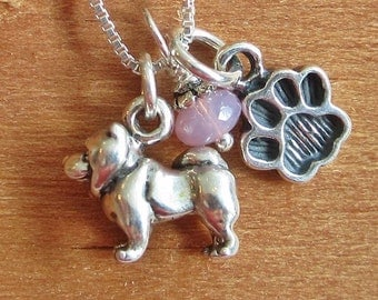 Chow Necklace- Mini Paw Print Sterling Silver Custom Necklace (Your Choice of Color and Initial)