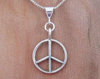 Large Peace Sign Sterling Silver Pendant Charm and Necklace