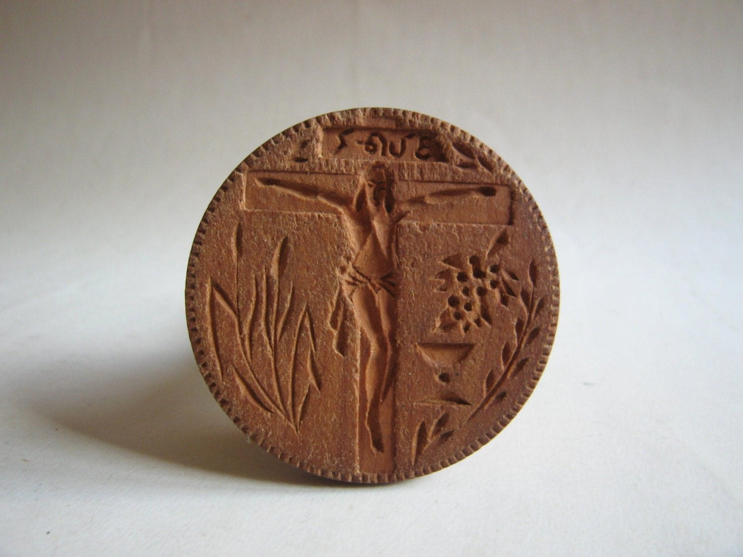 Vintage hand carved wooden orthodox bread seal stamp