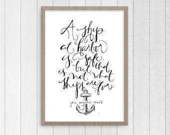 Ship at Harbor Anchor B&W Printable