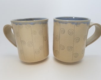 Cups or Mugs, set of 2, ocean blue spirals, for your favorite beverage!