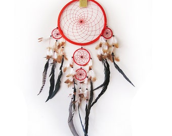 Free Fast Shipping/Red Dream Catcher/Five Circles-One Oversize and Four Little Circle/Indian Symbols -4 size Optional