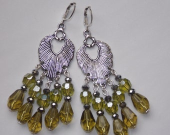 Olive Green Teardrop Tibetan Silver Leaf Earrings