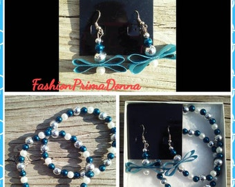 "Stunning ""BlueIce"" earring and bracelet set"