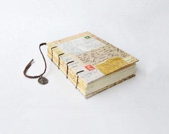 Small  Coptic Bound Journal, Notebook, Sketchbook - Vintage postcards