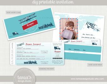 Transportation Ticket Birthday Invitation by tania's design studio