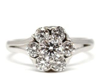 Platinum Art Deco Antique Diamond flower cluster Ring