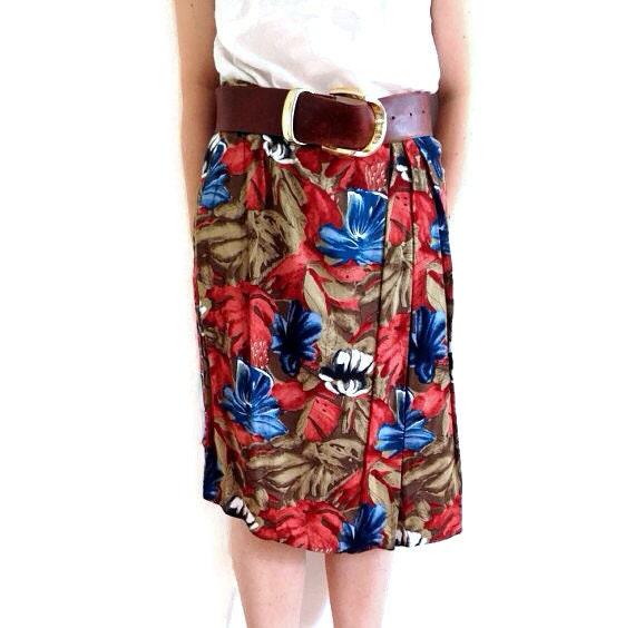 Jungle Print skirt // 90s midi skirt // Vintage autumnal skirt // autumn colours // 90s tropical patterned skirt size 10 12