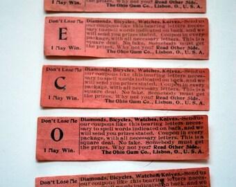 Ephemera, Game Coupons, Ohio Gum Co. 1920s, Lot of 5