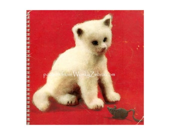 Cat knitting pattern vintage toy cat patterns Kosset the cat Vintage Knit Pattern PDF 583  from ToyPatternLand and WonkyZebra