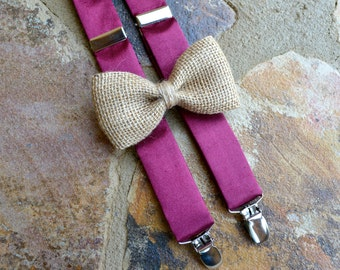 Burgundy bow tie and suspenders,satin bow tie and suspenders,silk suspenders and burlap bow tie