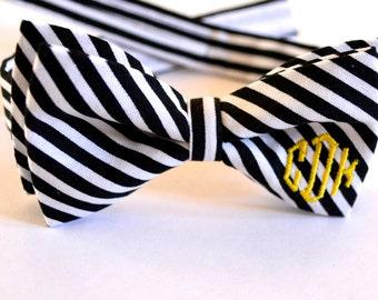 monogram bow tie,black and white stripes monogram bow tie,black and gold monogram bow tie,monogrammed bow tie for boys