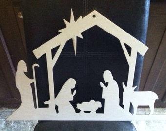 """12"""" Nativty Scene / Door Hanger / Wreath Decoration / unfinished/ Wood"""