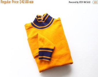 30% OFF SALE 50s sweater | mustard striped pullover | orange and blue sweatshirt | cheerleader [ small medium ]