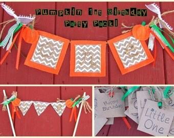 Pumpkin 1st Birthday Party Pack, Pumpkin One Banner, Pumpkin First Birthday Cake Topper, Pumpkin One Cake Topper, Pumpkin First Birthday