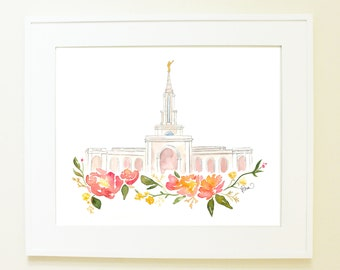 LDS Temple Watercolor (Sacramento, California)