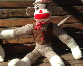 Handmade Sock Monkey with Vest and Bowtie