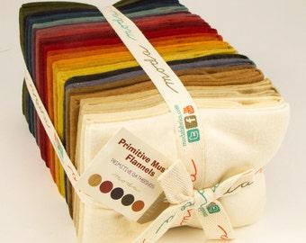 Moda Primitive Muslin Flannels 24 Fabric Fat Quarter Bundle