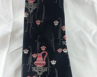 Don Loper Men's Necktie Black Red Pink Ewer Wide Vintage