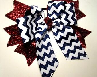 Chevron Glitter Cheer Bow - Navy and White Chevron Stripes over Sparkling Red Glitter Spikes For Cheer, Dance, Softball