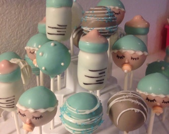 TIFFANY inspired Baby Shower cake pops. 2 DZ Welcome New Baby, baby bottles, infant babies