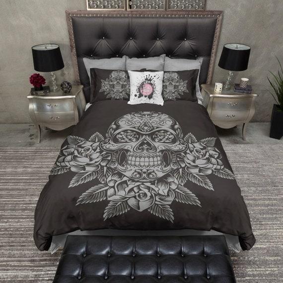 Lightweight Skull Bedding Slate 3 Rose Skull Design by