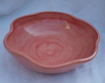 Large Scalloped Bowl in Coral (light orange/pink color)