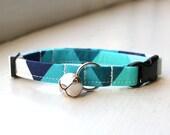 Geometric Cat Collar, Breakaway Cat Collar, Handmade Cat Collar, Cat Accessories, Pet Accessories, Fabric Cat Collar, Blue Teal Geometric