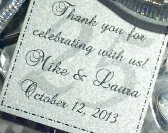 Silver Anniversary Personalized Favor Tags