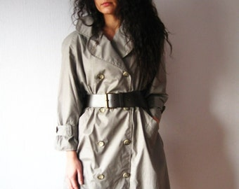 SALE Gray Trench Coat Double Breasted Raglan 3/4 Sleeve Light Trenchcoat