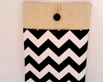 """Black and White Chevron- Chromebook Case 11.6"""" laptop Case or Microsoft Surface Pro Sleeve, macbook, 11 inch macbook air sleeve, great gifts"""