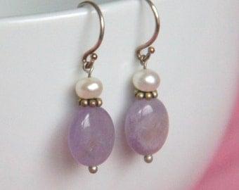 Handmade, Amethyst and Freshwater Pearl, Sterling Silver Earrings