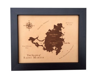 3rd anniversary gift leather map- laser engraved - leather anniversary - personalized map art