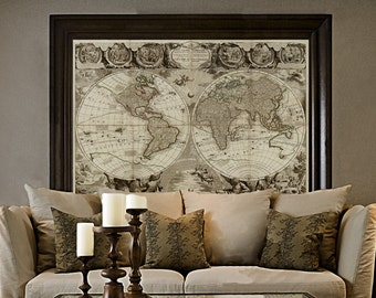 Old World Map Baptiste 1708 Historic Map Antique Restoration Hardware Style World Map Jean Baptiste Nolin Le Globe Terrestre Wall Map Decor